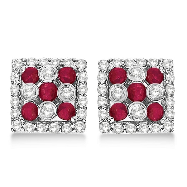 Ruby & Diamond Accented Square Cluster Earrings 14k White Gold (0.90ct)