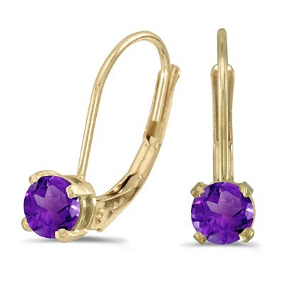 Amethyst Lever-Back Drop Earrings 14k Yellow Gold (0.40ctw)
