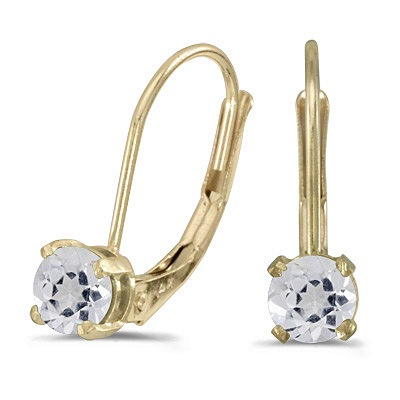White Topaz Lever-Back Drop Earrings 14k Yellow Gold (0.60ct)