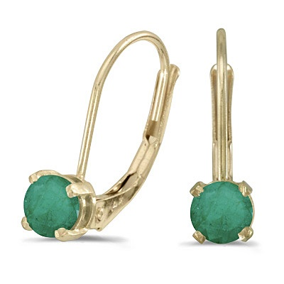 Emerald Lever-Back Drop Earrings 14k Yellow Gold (0.50ctw)