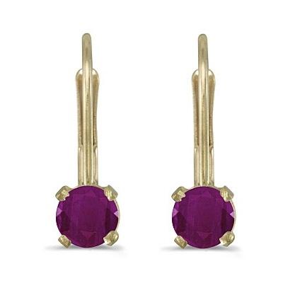 Ruby Lever-Back Drop Earrings 14k Yellow Gold (0.66ctw)
