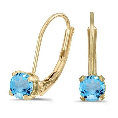 Blue Topaz Lever-Back Drop Earrings 14k Yellow Gold (0.60ctw)