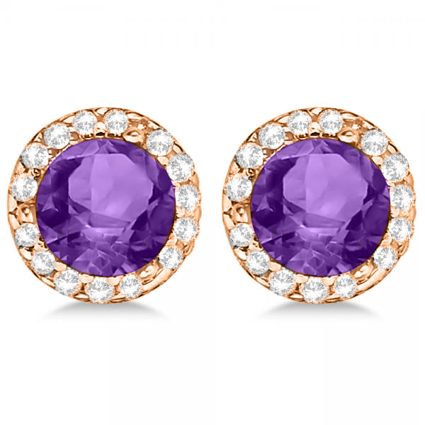 Diamond and Amethyst Earrings Halo 14K Rose Gold (1.15tcw)