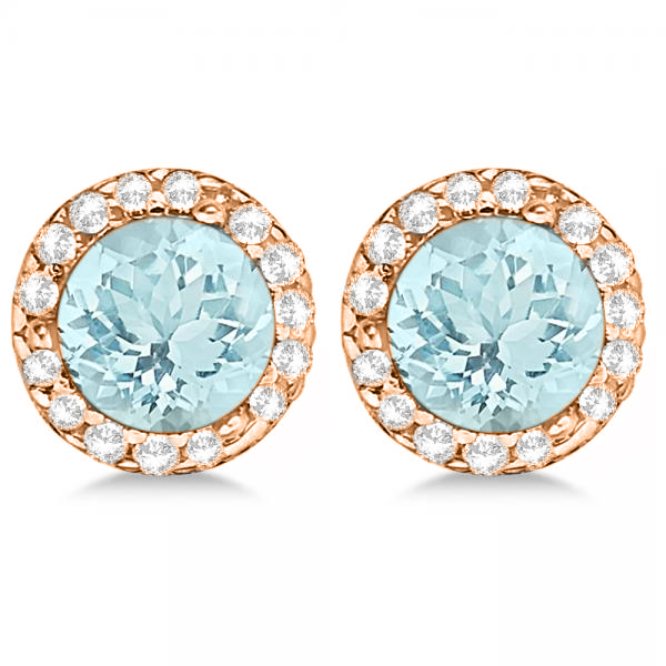 Diamond and Aquamarine Earrings Halo 14K Rose Gold (1.15tcw)