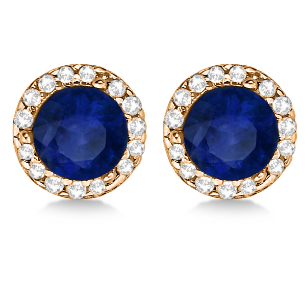 Diamond and Blue Sapphire Earrings Halo 14K Rose Gold (1.15tcw)