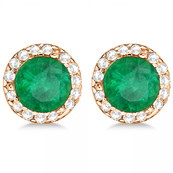 Diamond and Emerald Earrings Halo 14K Rose Gold (1.15ct)