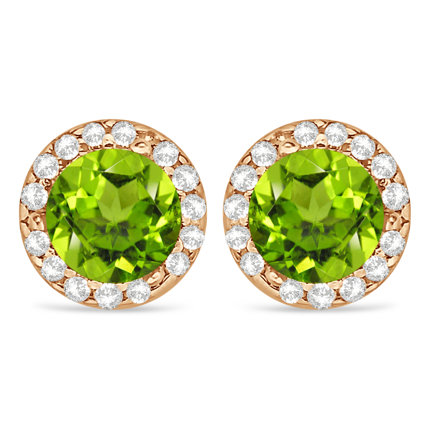 Diamond and Peridot Earrings Halo 14K Rose Gold (1.15ct)