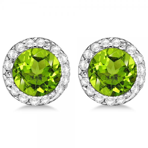 Diamond and Peridot Earrings Halo 14K White Gold (1.15ct)