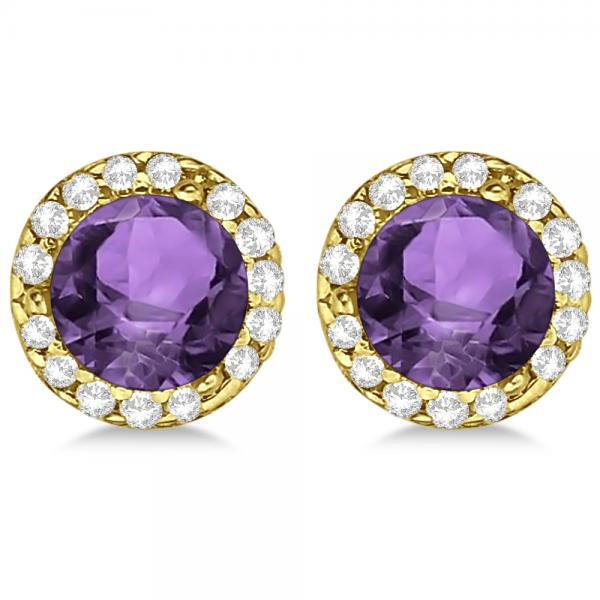Diamond and Amethyst Earrings Halo 14K Yellow Gold (1.15ct)