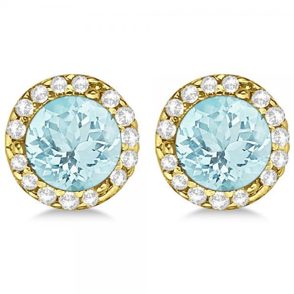 Diamond and Aquamarine Earrings Halo 14K Yellow Gold (1.15ct)