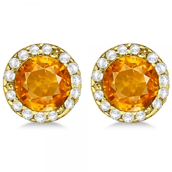 Diamond and Citrine Earrings Halo 14K Yellow Gold (1.15ct)