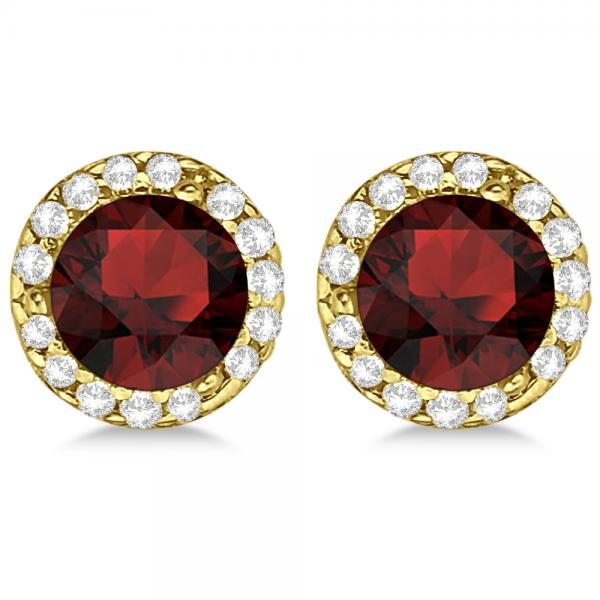 Diamond and Garnet Earrings Halo 14K Yellow Gold (1.15ct)