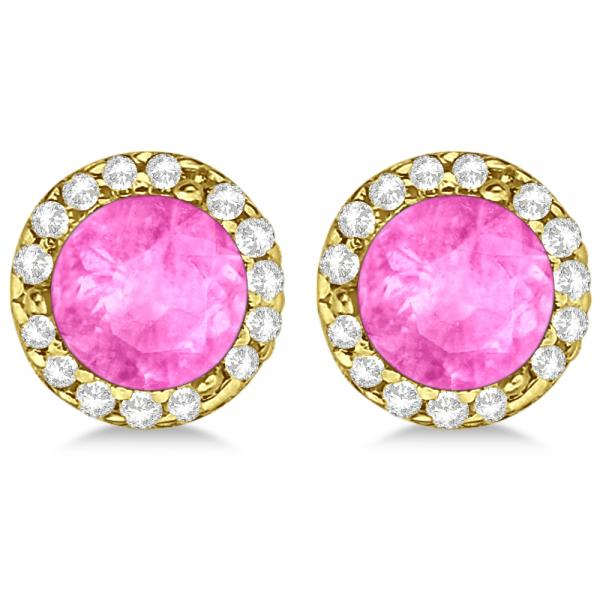 Diamond and Pink Sapphire Earrings Halo 14K Yellow Gold (1.15ct)