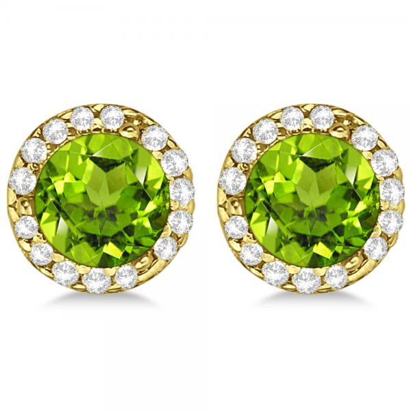 Diamond and Peridot Earrings Halo 14K Yellow Gold (1.15ct)