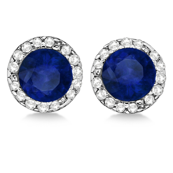 Diamond and Blue Sapphire Earrings Halo 14K White Gold (1.15tcw)