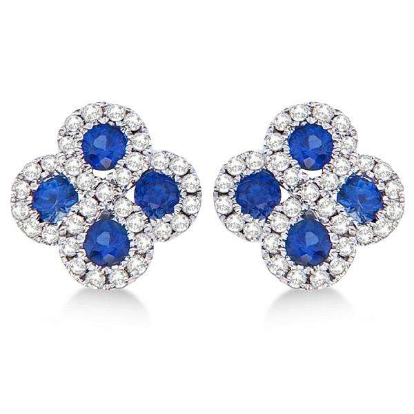 Blue Sapphire & Diamond Clover Earrings in 14K White Gold (0.90ct)