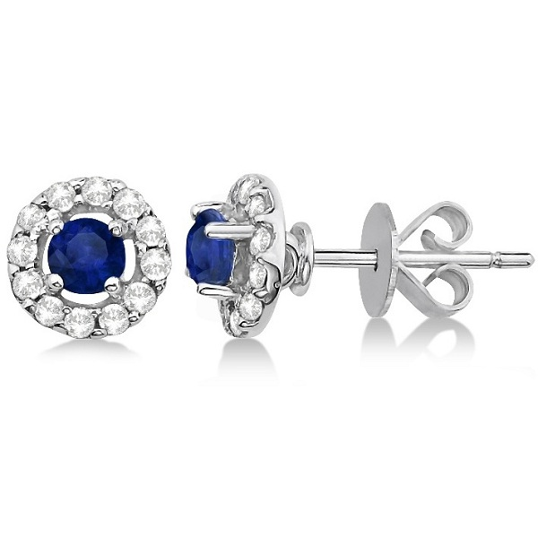 Floating Sapphire and Diamond Stud Earrings 14K White Gold (0.96tcw)