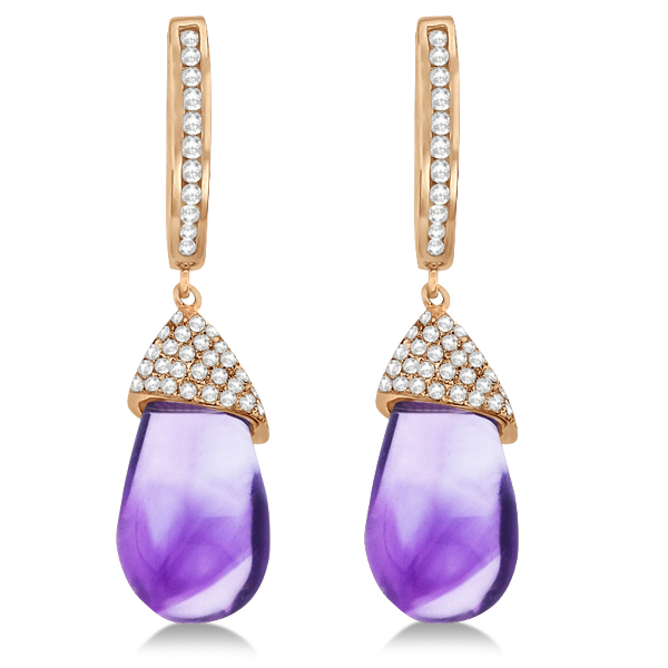 Diamond and Amethyst Drop Earrings Pear Shape 14K Rose Gold (6.08tcw)