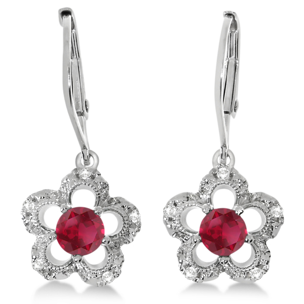 Ruby and Diamond Flower Design Drop Earrings 14k White Gold 0.36ct