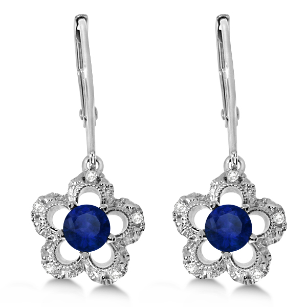 Sapphire and Diamond Flower Design Drop Earrings 14k White Gold 0.36ct