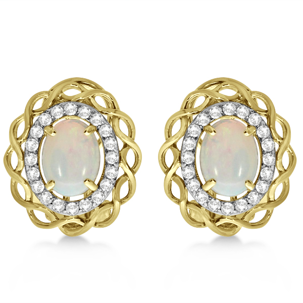 Oval Opal & Diamond Earrings, Halo Style Studs 14k Yellow Gold 1.61ct