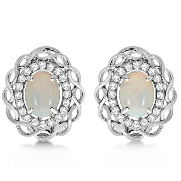 Oval Opal & Diamond Earrings, Halo Style Studs 14k White Gold 1.61ct