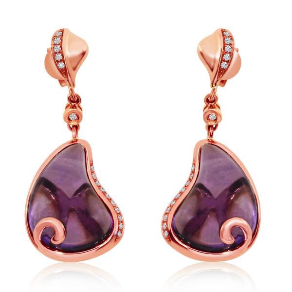 Pear Shape Amethyst Earrings w/ Diamond Accents 14K Rose Gold 10.14ct