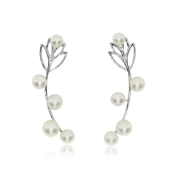 Leaf Cascading Pearls Earring Crawlers 14k White Gold 3mm-4.5mm