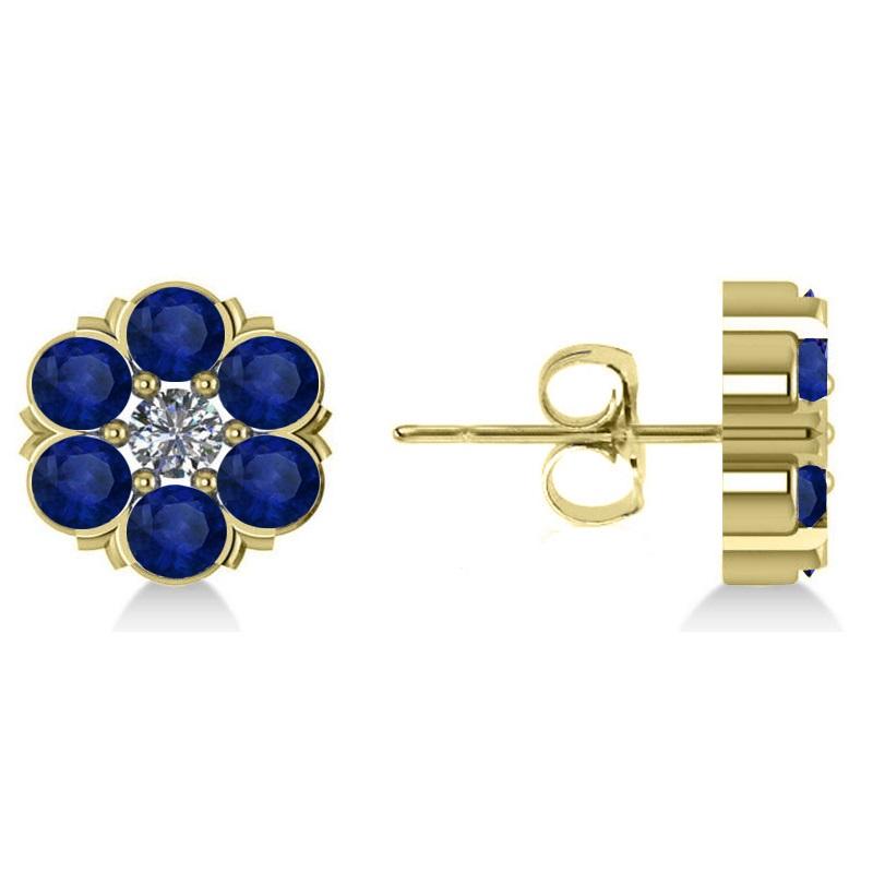 blue sapphire diamond cluster stud earrings 14k yellow. Black Bedroom Furniture Sets. Home Design Ideas