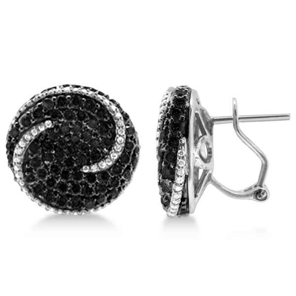 French Clip Circle Swirl Black Diamond Earrings 14k White Gold (4.35ct)
