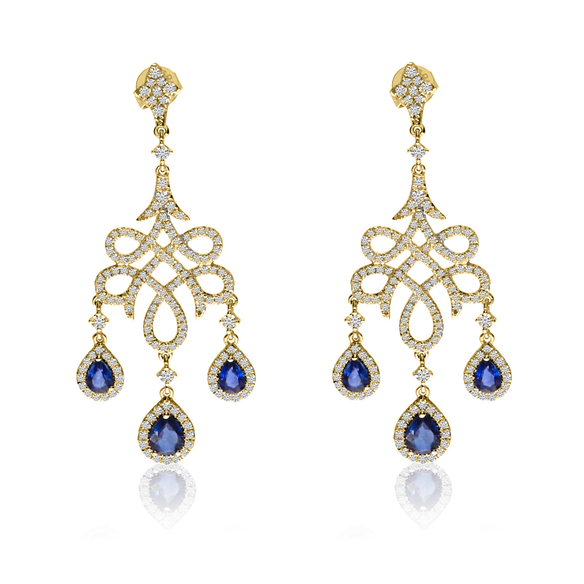 Blue Sapphire & Diamond Chandelier Earrings 14k Yellow Gold (2.66ct)