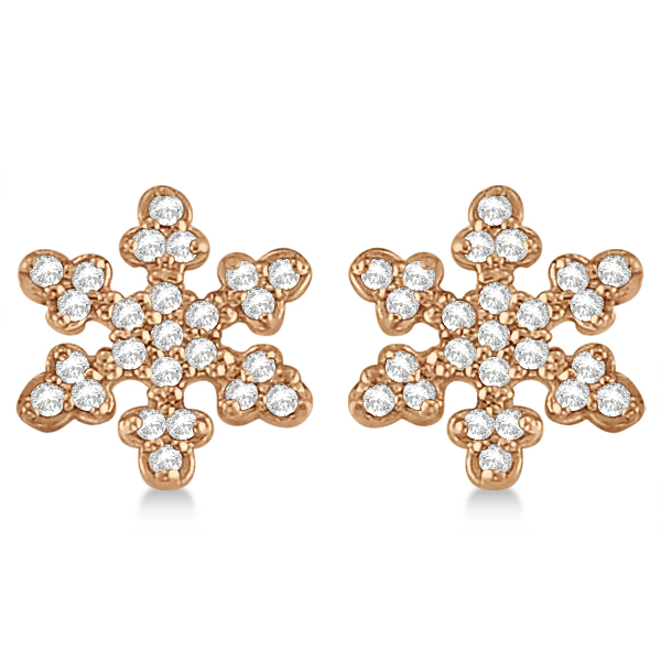 Diamond Snowflake Earrings 14k Rose Gold (0.24ct)