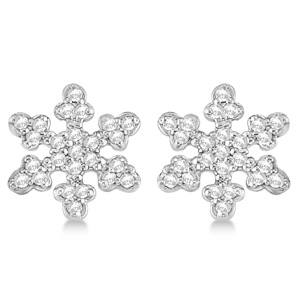 Diamond Snowflake Earrings 14k White Gold 0 24ct