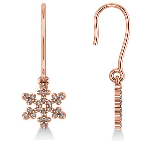 Diamond  Snowflake Loop Earrings 14k Rose Gold (0.24ct)