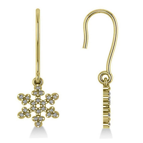 Diamond  Snowflake Loop Earrings 14k Yellow Gold (0.24ct)