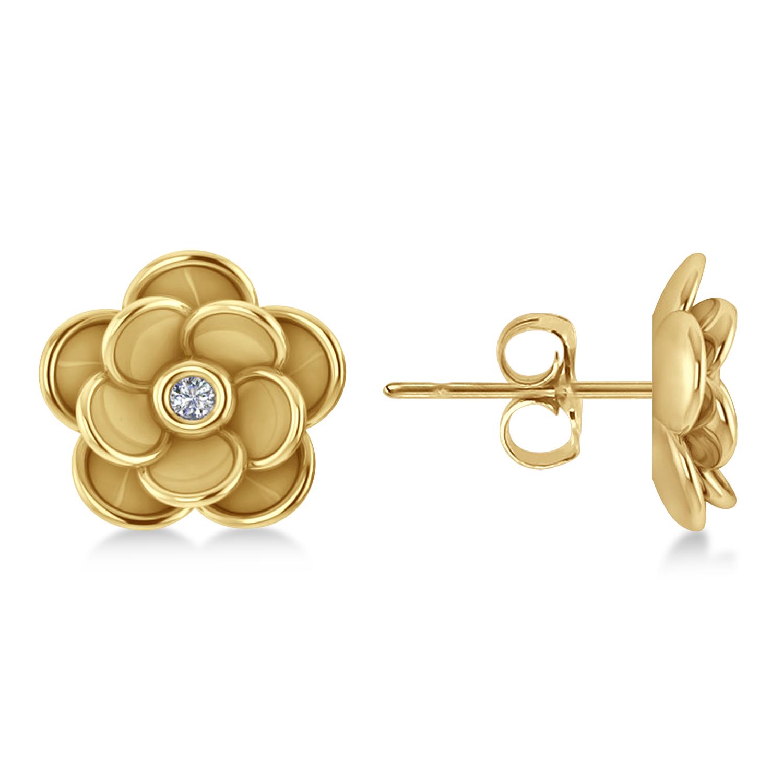 Diamond Round Flower Earrings 14k Yellow Gold (0.03ct)