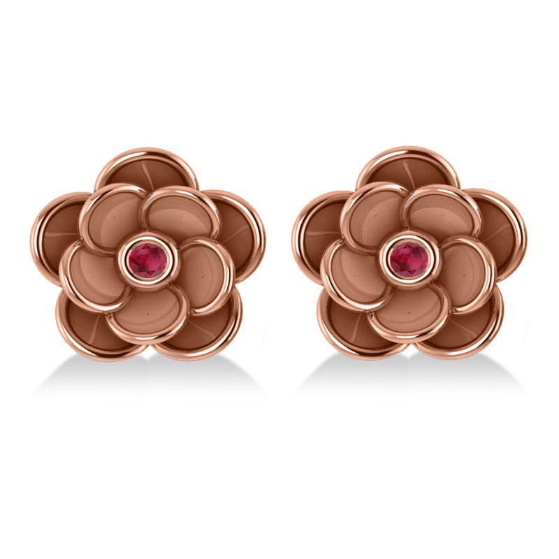 Ruby Round Flower Earrings 14k Rose Gold (0.06ct)
