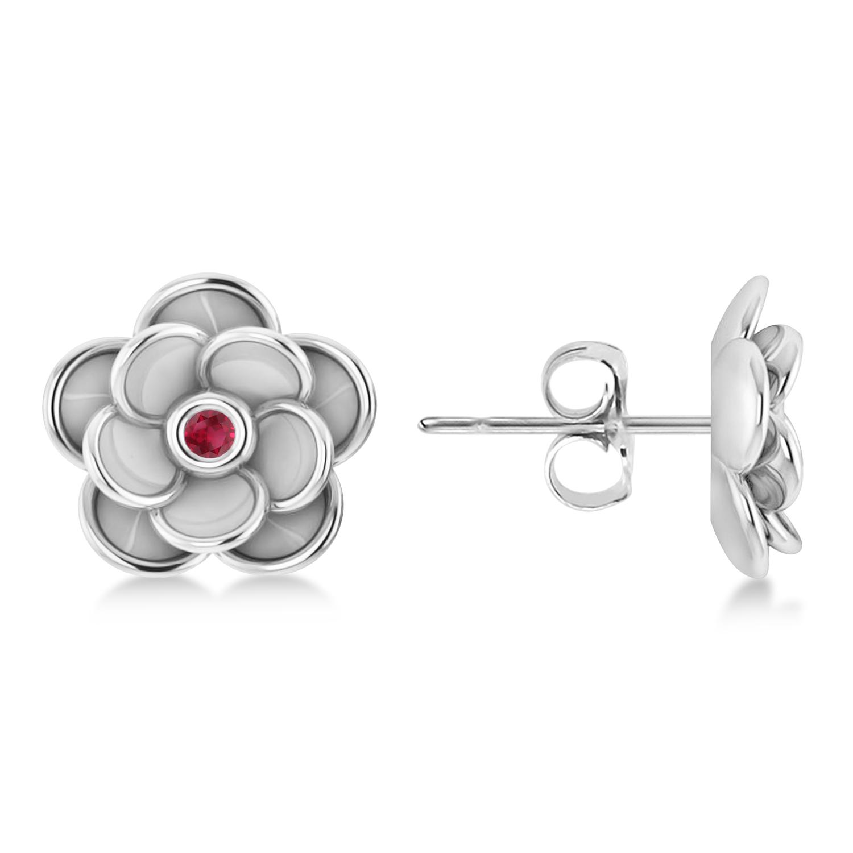 Ruby Round Flower Earrings 14k White Gold (0.06ct)