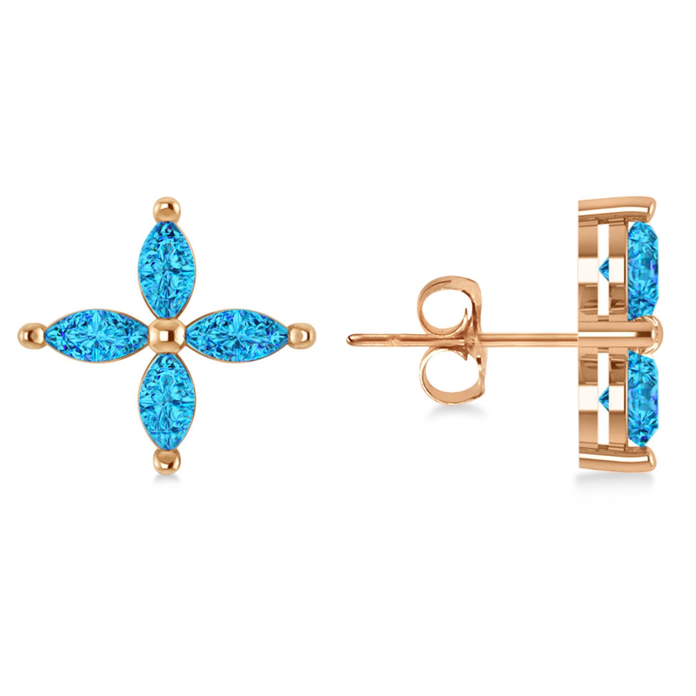 Blue Topaz Marquise Stud Earrings 14k Rose Gold (1.36 ctw)