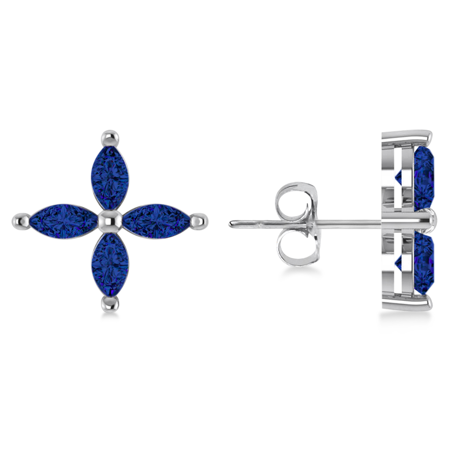Blue Sapphire Marquise Stud Earrings 14k White Gold (1.92 ctw)