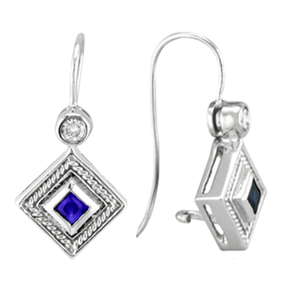 Princess Cut Blue Sapphire and Diamond Earrings in 14k White Gold