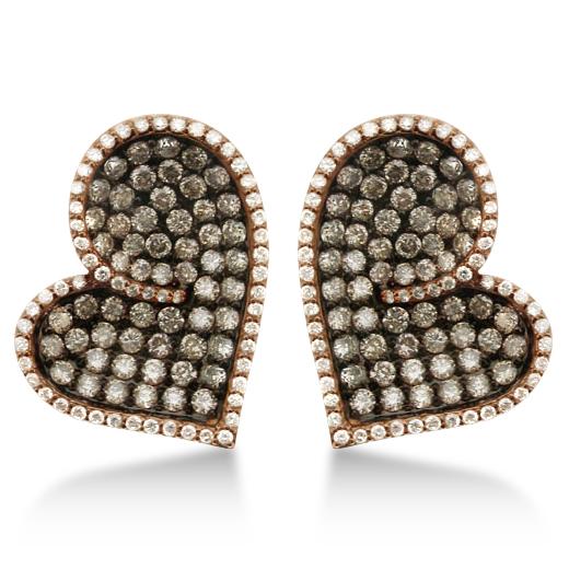 Champagne Diamond Heart Shaped Earrings 14k Rose Gold (3.30ct)