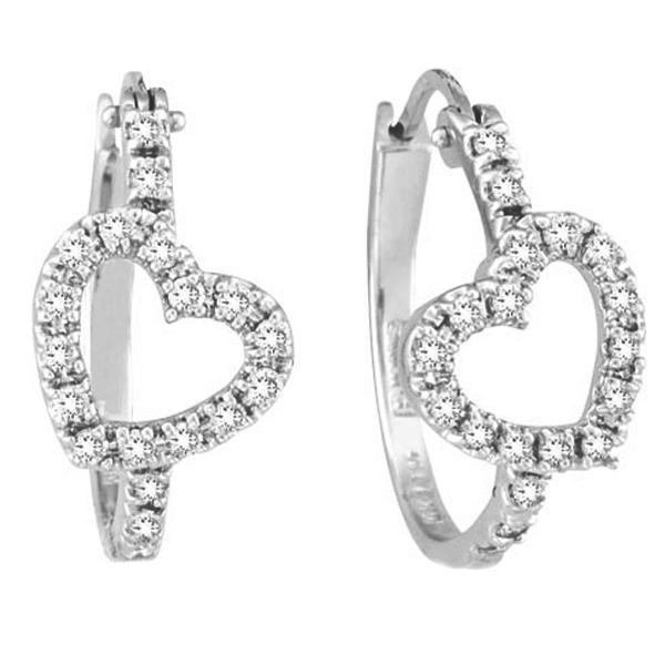 Diamond Heart Hoop Earrings in 14k White Gold (0.50ct)