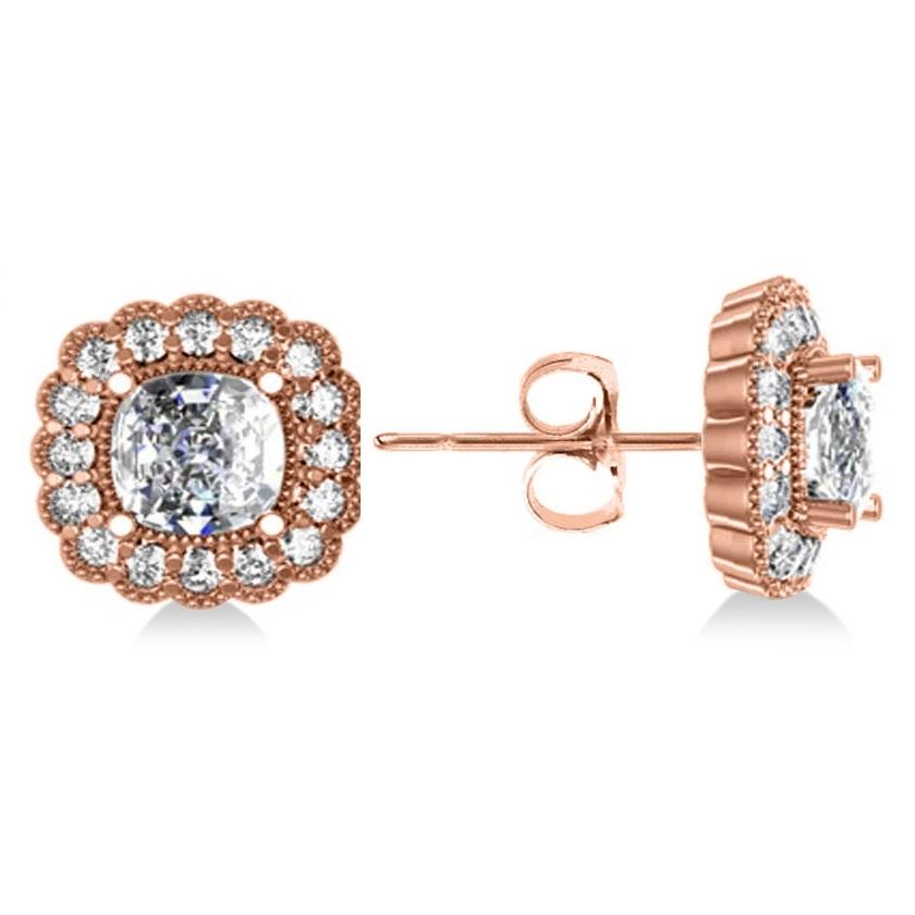 Floral Halo Cushion Cut Diamond Earrings 14k Rose Gold (3.52ct)