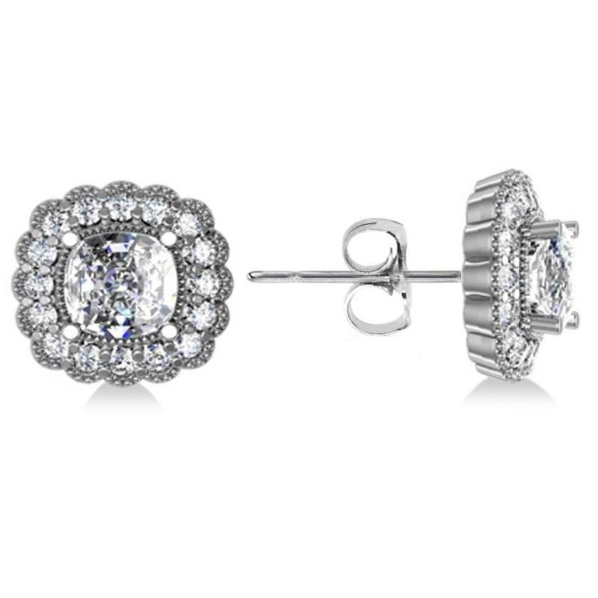 Floral Halo Cushion Cut Diamond Earrings 14k White Gold (3.52ct)