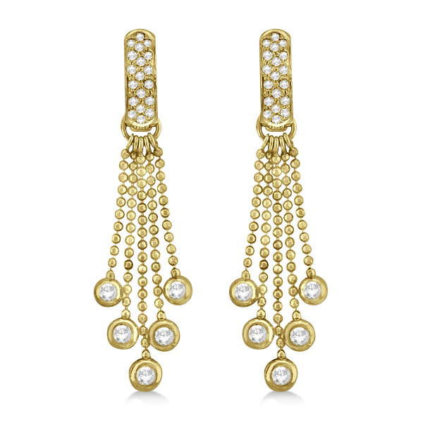 Pave Bridal Diamond Chandelier Earrings 14K Yellow Gold (1.00ct)