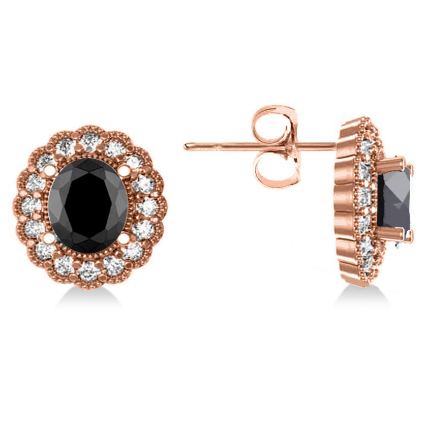 Black Diamond & Diamond Floral Oval Earrings 14k Rose Gold (4.68ct)
