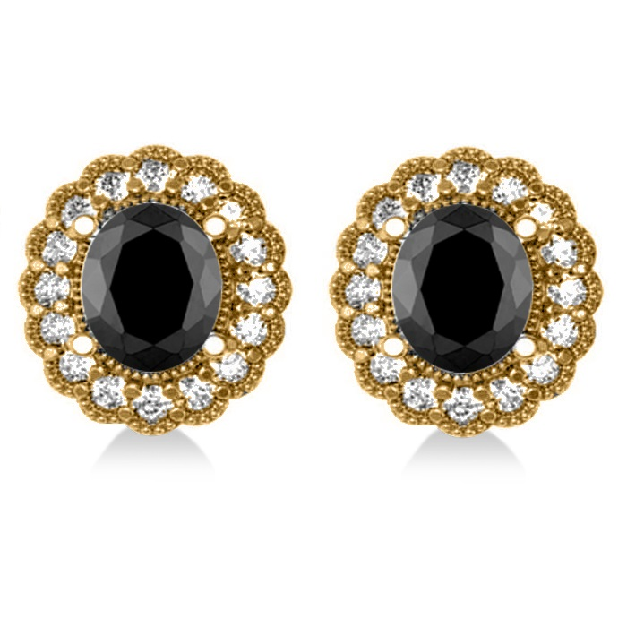 Black Diamond & Diamond Floral Oval Earrings 14k Yellow Gold (4.68ct)