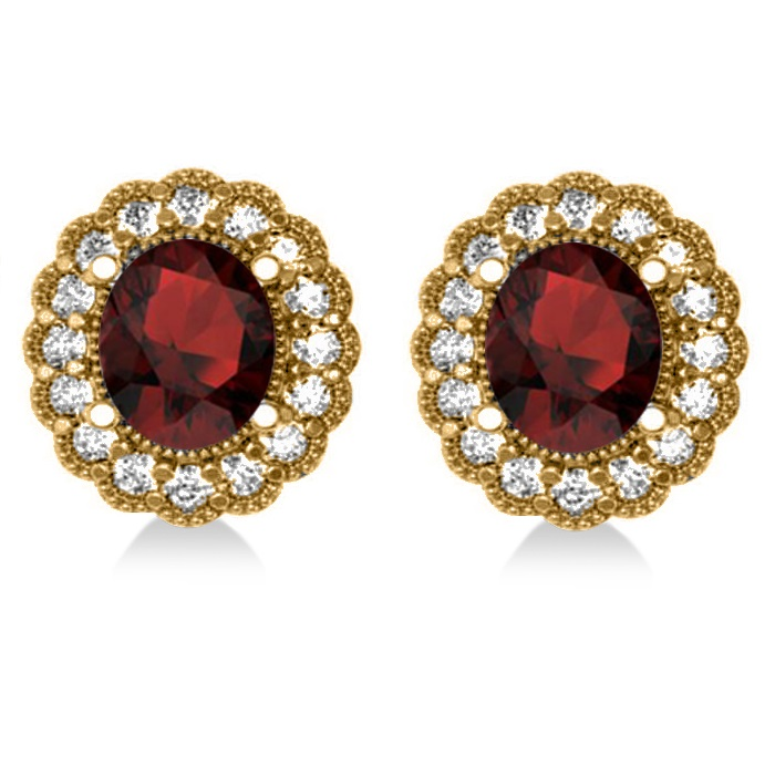 Garnet & Diamond Floral Oval Earrings 14k Yellow Gold (5.96ct)