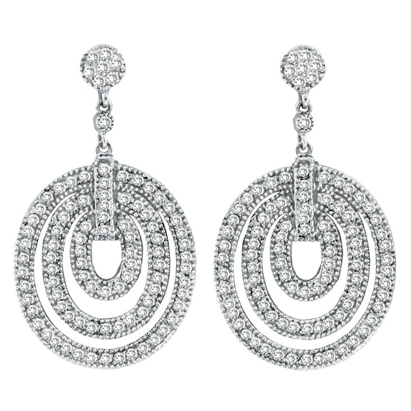 Drop Circle Diamond Earrings in 14K White Gold (1.91 ctw)